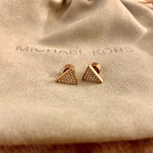 Michael Kors Pave Crystal Triangle Stud Earrings
